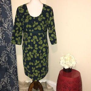 Boden Empire Waist Corduroy Leaf Print Dress